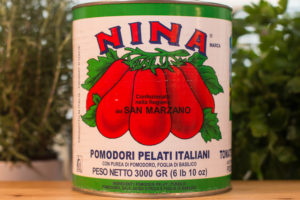 Image of a large can of Nina San Marzano whole tomatoes.