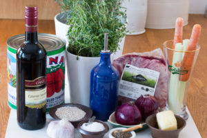 Required ingredients for slow cooked lamb ragout.