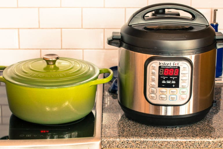A stove top pot and an Instant Pot used for the comparison.