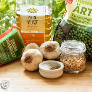 Ingrediants for Pea Pesto.
