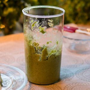 Pureed Pea Pesto ready for use.