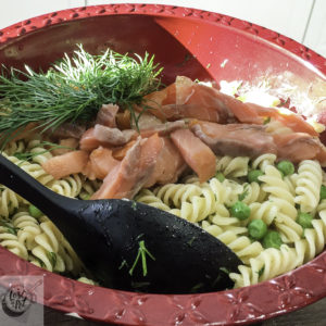 Cold smoked salmon pasta lunch.