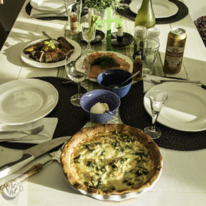 Smoked seafood and Fresh Potato Pie with Spenach.
