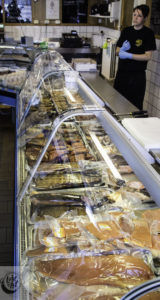 Smiked fish counter at Hennings fish house.