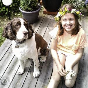 Chloe enjoying Swedish Midsommar with Felicia the Midsommar Princess.
