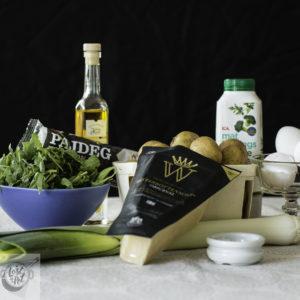 Ingredients for Färskpotatispaj med Spenat (Potato pie).