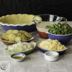 Prepped ingredients for Potato Pie.