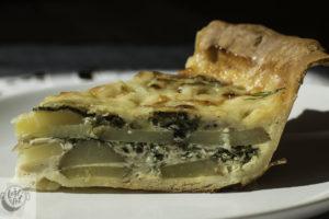 A slice of Fresh Potato Pie.