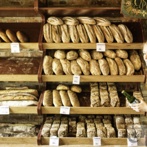 A rack of fresh baked bread.