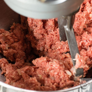Mormor's meatball mix being blended.
