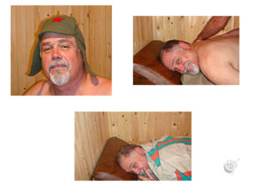 Ron after first sauna session in the banya.
