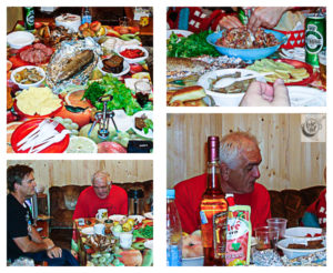 Post sauna party in the dacha, with food and drink of all types.