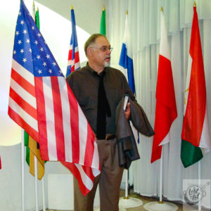 Ron and the USA flag at a global conference in Krasnoyarsk, Siberia – RU.
