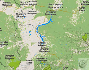 A Google map of the area of Siberian Russia that I traveled to.