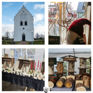 A collage of images showing a church and Christmas market.