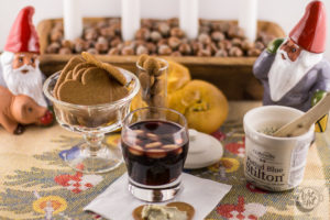 Drinking of Glogg with ginger snaps.