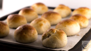 A tray of freshly baked Semla buns.